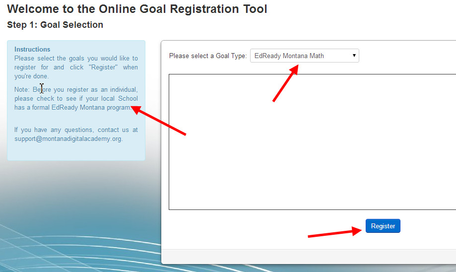 EdReady Montana individual goal signup page